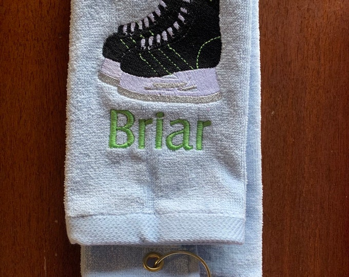 Skate drying towel with personalized custom embroidery by Linda Kay's Creations