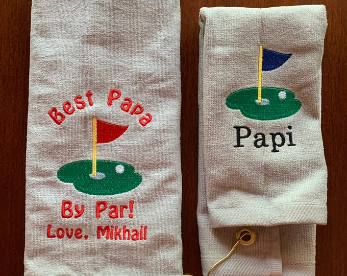 Personalized Golf towel, sport towel, any design, monogram towel, embroidered towel, choice of 2 sizes, one towel