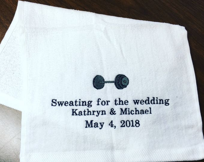 Personalized workout towel, sweating for the Wedding, emberoridered towel, exercise towel, Yoga, sport towel, exercise gift, gym towel,