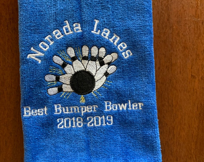 Bowling towel whith personalized embroidery included, 2 size choices