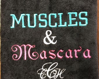 Gym towel, Muscles & Mascara, Personalized, workout towel,