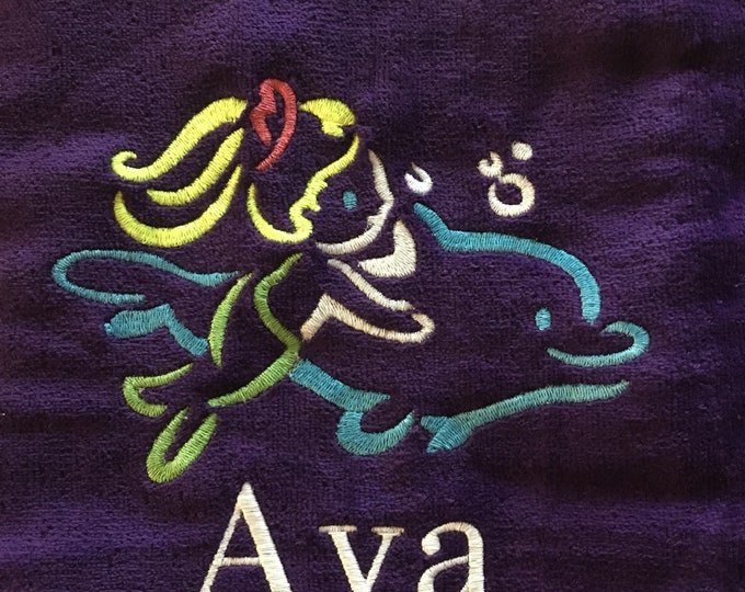Personalized beach towel, personalized, Girls towel, mermaid, dolphin, monogrammed towels, pool party, vacation, bath towel,