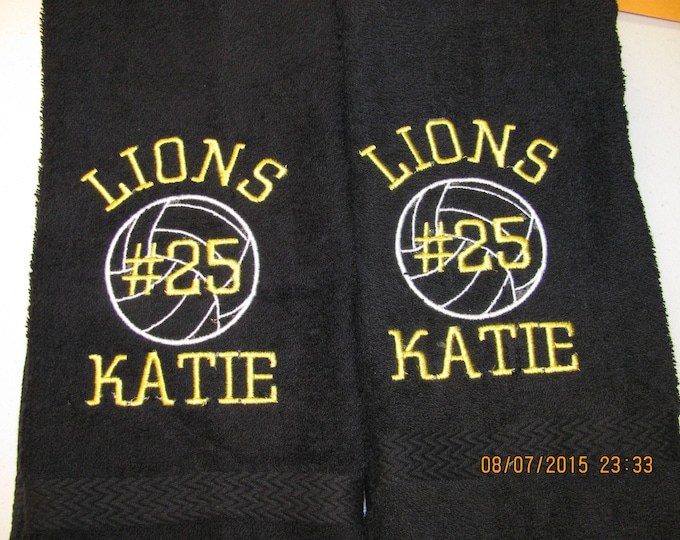 Custom Personalized volleyball towel, sport towel, monogram towel, volleyball, volleyball team towels
