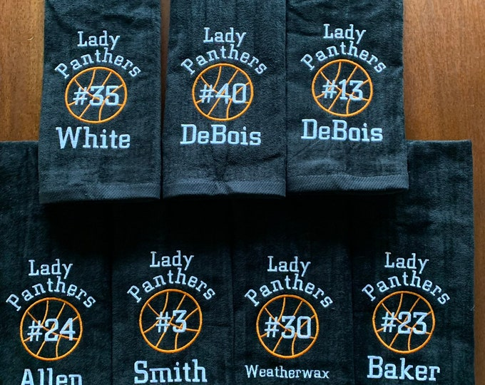 Personalized basketball towels with custom embroidery included, ALL sports available, team discounts,
