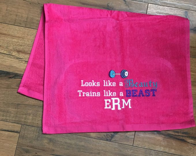 Gym towel, Personalized, workout towel, sweat towel, exercise towel, sport towel, exercise gift, monogram, name or any saying, 16 x 26
