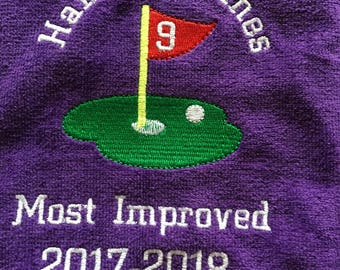 Custom Embroidered Personalized golf towel made to order