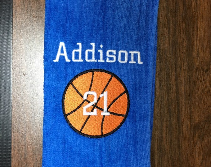 Personalized basketball towel, monogrammed great seller, basketball team towels, basketball gift, 16 x 26 or 11 x 17, terry velour