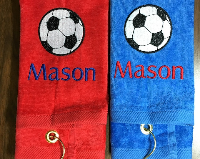 Personalized soccer towel, embroidered, message for team orders free shipping