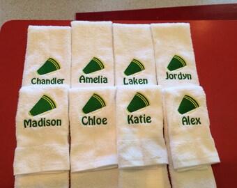 Cheerleader towel Megaphone personalized towel any colors, 16 x 26 no hook