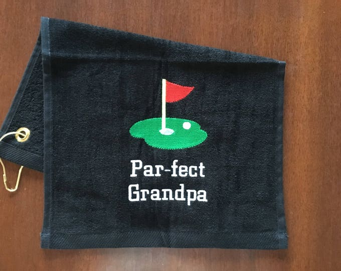 Par-fect golf towel with custom personalized embroidery