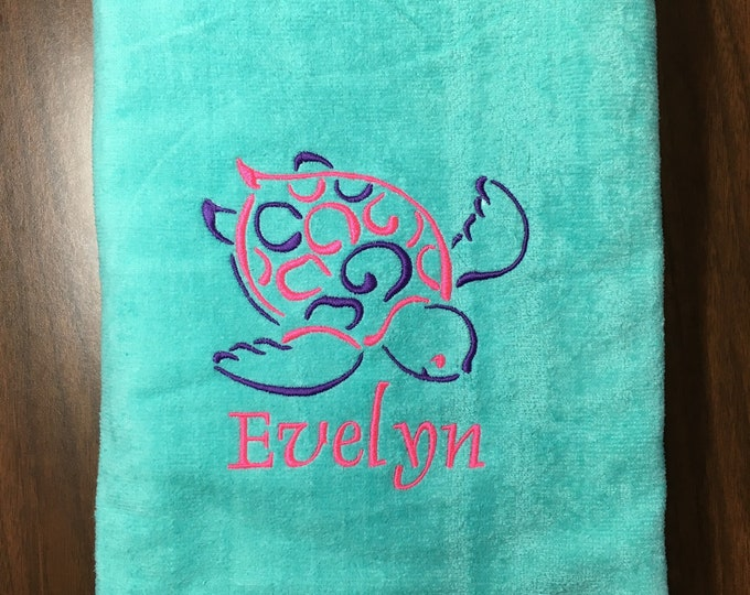 Aqua personalized beach towels perfect for kids and adults, beach / bath towels, 30 x 60