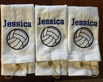Personalized volleyball towel, great seller, colored towel, coach gift, volleyball team towels