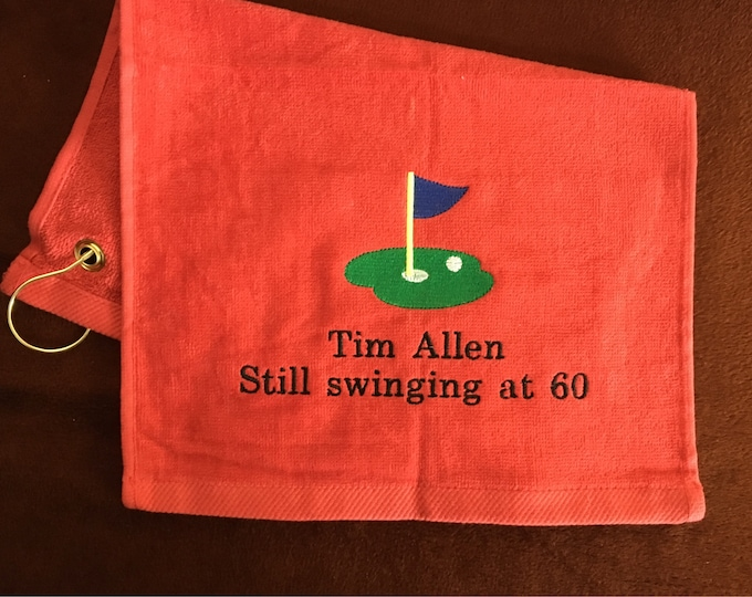 Golf towel for retirement, birthday, Fathers Day or any occasion, custom personalized embroidery included
