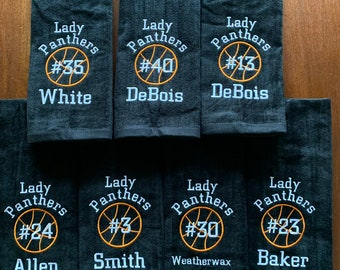 Sport towel custom embroidered by Linda Kay's Creatons: any sport on each