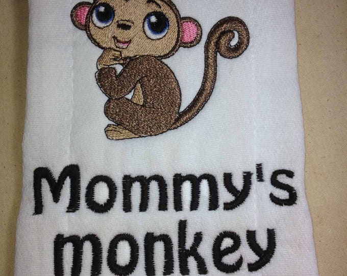 Monkey burp cloth, Personalized, burp cloth, personalized baby, baby shower gift, embroidered towel, cloth diaper, baby gift, new parents,