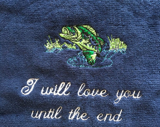 Fishing, Fishing towel, personalized towel, camping, kitchen towel, fish, fathers day, embroidered, camping, catfish towel, embroidery