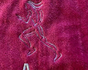 Track and field, running,  Personalized, sport towels, track, embroidered gift, Blair Oaks, Falcons,
