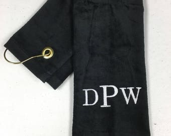 Golf towel with custom embroidery