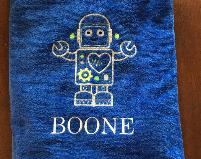 Embroidered Robot beach towel or large bath towel, approximately 30 x 60 premium terry velour.