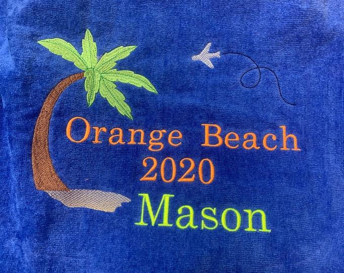 Custom personalized Beach Towels / made to order/ vacation towel / terry velour, birthday bash vacation towels,