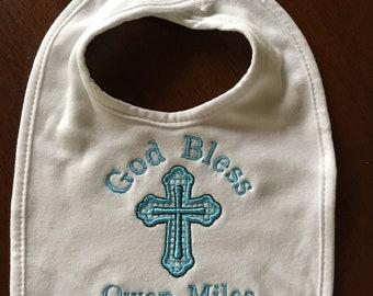 God Bless Baby bib or burp cloth, monogram, Baptism bib, Personalized baby bib, new baby, baby gift, any thread color, white bib or burp clo