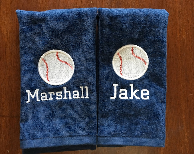 Personalized softball towel, baseball team gift, school sports, with or without hook, one name and number