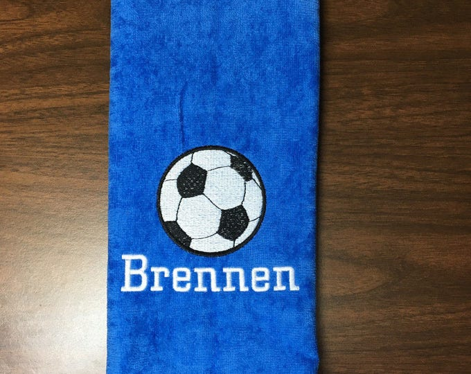 Personalized soccer towel, fast turn around, embroidered towel, name and ball, any towel color,