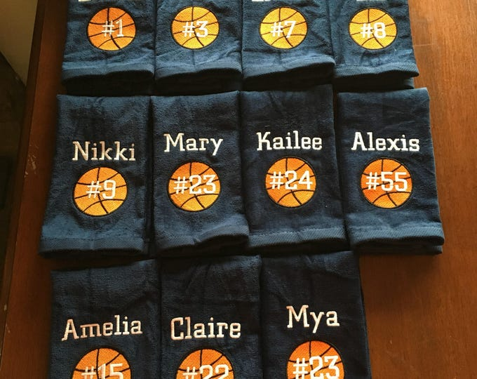 Sport towels, team towels, handmade, team gift, Custom Personalized, Embroidered, team Towels, any sport,
