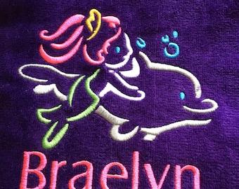 custom personalized mermaid and dolphin beach towel.