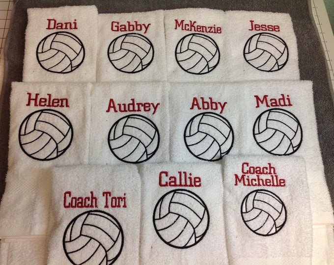 Personalized volleyball towel, great seller, volleyball team towels, volleyball gift, pin towels, 4 lines max, team discount