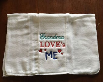 Personalized Burp Cloth, Custom Embroidered, Baby Gift, burp rag, New Baby Gift,  baby shower gift, Mothers Day, new Grandma gift