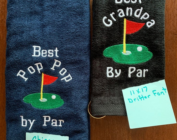 Personalized Golf towel, crossed clubs, golf gift, monogram towel, embroidered towel, choice of 2 sizes, one towel