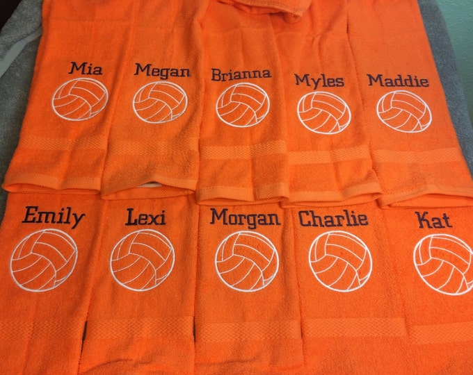 Personalized volleyball gift, terry velour towel,