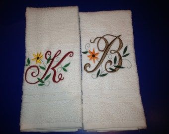 Custom personalized large hand towel,  embroidered monogrammed  hand towel.
