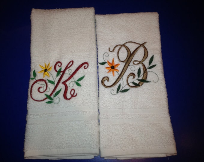 Custom personalized large hand towel,  embroidered monogrammed  hand towel. 16 x 26 terry velour