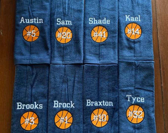 Personalized  basketball towel, with name, number and school, and ball, great seller, 3 or 4 lines max, free shipping