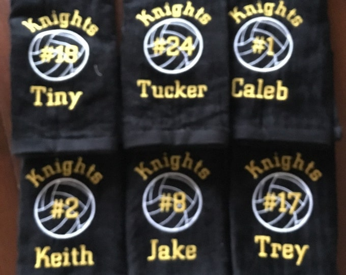volleyball towel with custom personalized embroidery by Linda Kay's Creations