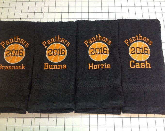 Personalized basketball towels with custom embroidery included. ALL sports available