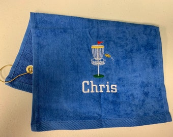 Disc golf towel with custom embroidery