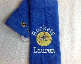 Custom personalized embroidered baseball, softball or tennis towel