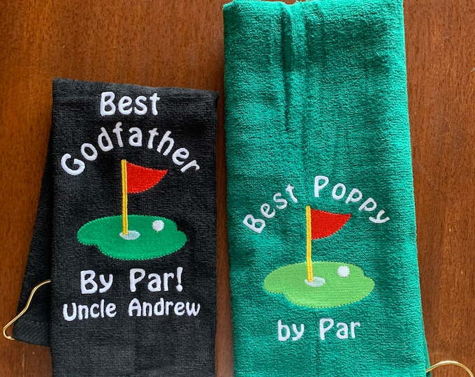 Par-fect golf towel with custom personalized embroidery, discount on 8 or more