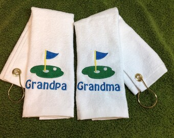 White Personalized golf towel, gift for her, gift for him, monogrammed towel, retirement gift,