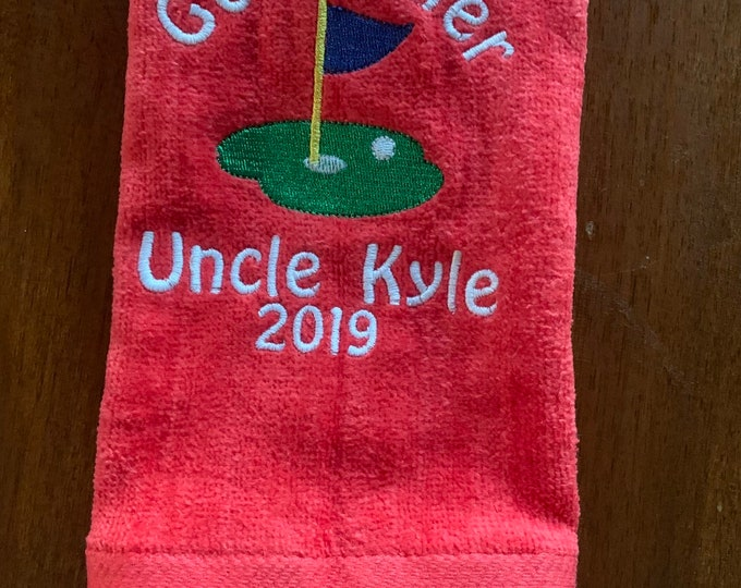 Personalized Godfather towel, godfather gift, monogram towel, embroidered towel, fast turn around, choice of 2 sizes, one towel