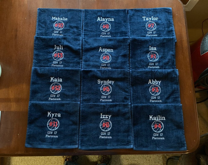Personalized volleyball towel with custom embroidery