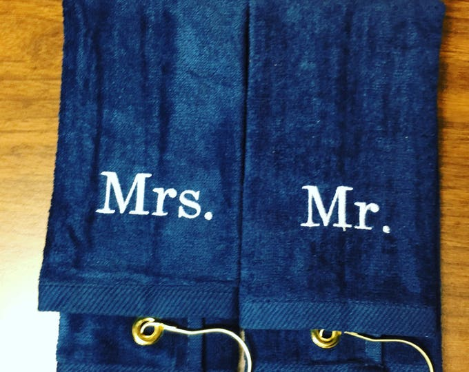 Personalized golf towels Mr. and Mrs.