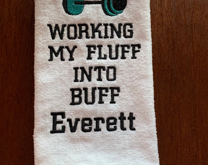 Gym towel with BUFF, Custom Gym towel, Personalized, workout towel, sweat towel, exercise towel,