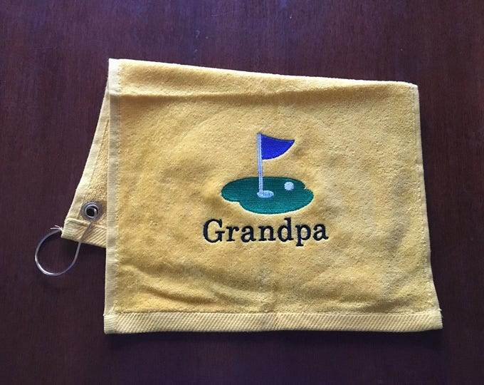 Golf towel made to order with custom embroidery