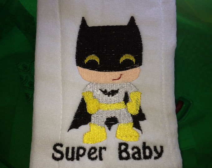 Personalized Super baby burp cloth for baby boy or baby girl made with terry velour towel 11 x 16