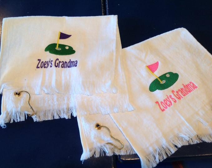 Golf towel with custom embroidery by Linda Kay's Creations