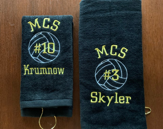 personalized volleyball towels, Volleyball team towels, one towel, Team discount with code